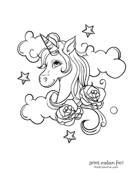 Most of them show many realistic elements and only few of them you can color the unicorn's wings using bright striking color like yellow, while giving its spiraling horn with darker color. Top 100 Magical Unicorn Coloring Pages The Ultimate Free Printable Collection Print Color Fun