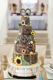 My Daughter S Wedding Cake Tree Trunk Tree Bark Sunflowers