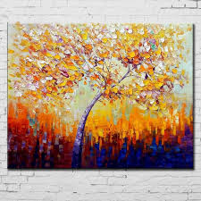 handmade acrylic paintings trees palette knife home decor wall art picture handpainted abstract colorful oil painting
