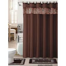 4pc bathroom rug set chocolate embroidered flower bath fabric shower curtain mat world s mart