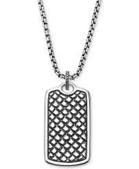 scott kay metallic men s textured dog tag pendant necklace