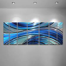 cascade 68 x24 large modern abstract metal wall art sculpture blue on blue abstract metal wall art with cascade 68 x24 large modern abstract metal wall art sculpture blue