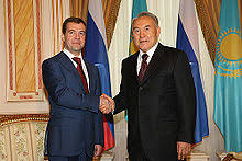 nursultan nazarbayev  meeting the russian former president dmitry medvedev in 2008 in astana