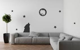 wolf howling at moon decal howling wolf decal wolf and moon howling at moon moon wall decor moon wall decal wolf wall art wolf decor