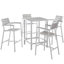maine 5 piece outdoor patio aluminum bar set