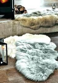 grey faux fur rug small fake next luxury sheepskin large