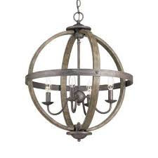 4 light artisan iron orb chandelier with elm wood accents