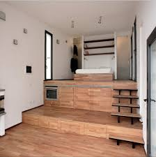 Raised Kitchen Floor Terraced Studio With Storage Built Into The Stepped Floor