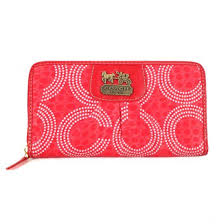 Coach Dot Logo Monogram Large Red Wallets EDK