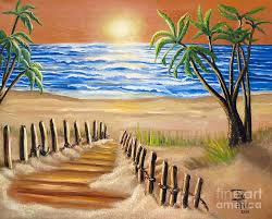sunset beach painting the palm tree beach by toni thorne