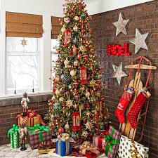 Traditional Christmas tree decorated with lighted red lanterns in a living  room Christmas corner with wall