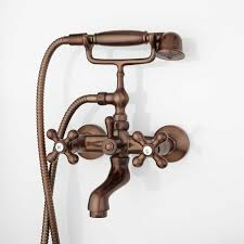 Barlow Wall Mount Tub Faucet And Hand Shower With Metal Cross