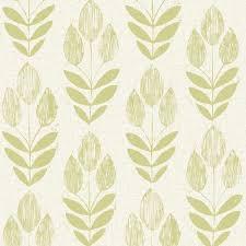 Scandinavian Green Block Print Tulip Wallpaper Bolt scandinavian-wallpaper