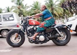 funny indian old lady riding harley davidson bike travel387