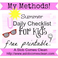 A Summer Version Of My Kids Daily Checklist A Slob Comes Clean
