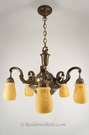 large brass chandelier with amber cased glass shades circa 1930s