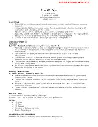 Resume Example Cna Resume Sample With No Experience 2016