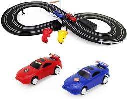 Slot Car Led Lights Boley Slot Car Racing Track Set Build Your Own Electric Double Rail Racing Track 2 Cars And 2 Hand Operated Rc Controllers Included Perfect For