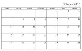Editable Calendar Template Monthly Calendar Printable 2015 October