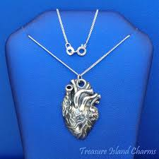 925 sterling silver anatomical human heart pendant necklace 18