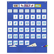 Classroom Calendar Pocket Chart Eamay Classroom Monthly Calendar Pocket Chart With 43 Clear Pocket 3 Storage Pockets For Easy Wall Or Stand Chart