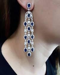 beautiful diamond blue sapphire chandelier earrings by pjgrp only the best
