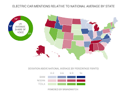 choosing the best electric car market share analysis brandwatch while tesla dominates nationally regional areas of strength are highlighted for the other two brands