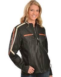 interstate leather las orange and cream striped jacket black hi res