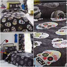 details about kids sugar skulls grey black silver white funky duvet cover set or curtains