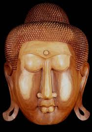 sold large wooden buddha face wall hanging 32