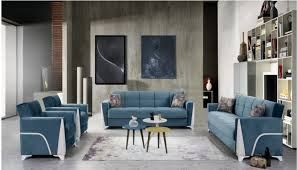 modern furniture and decor. Eylul Blue Living Room Set - Sofa Bed Sleeper | Accent Chair Arm Modern Furniture And Decor