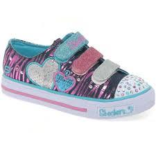 skechers shoes for girls. tripletime light up velcro girls trainers skechers shoes for