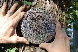 celtic knot mandala stone sculpture