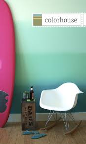 colorhouse paint ombre wall diy paint project blue beach feel