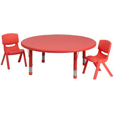parkside 45 in round adjule red plastic activity table set with 2 school stack chairs