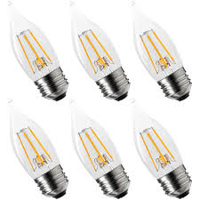 Luxrite Led Lights 6 Pack Luxrite Edison Led Candle Bulb 4w 40w Equivalent 360 Lumens Energy Star 2700k Warm White Led Dimmable Candelabra Bulb Flame Tip E26