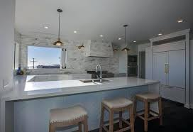 frightening kitchen peninsula with sink and seating