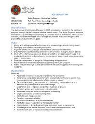 Audio Engineer Cover Letter Contract Position Job Description