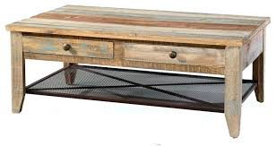 wood coffee table with drawers solid pine rustic four drawer iron mesh shelf multi colored finish