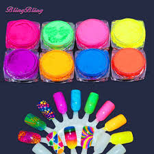 <b>8 Boxes Neon Pigment</b> Nail Powder Dust Nails Glitter Gradient ...