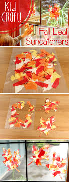 Fall color leaf sun-catchers that will brighten up your home while also  being a