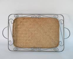 Decorative Wire Tray Serving Tray Vintage Woven Bamboo Decorative Wire Frame Retro 25