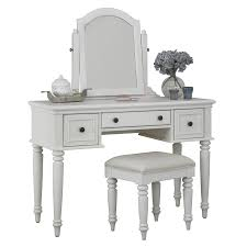 shop home styles bermuda brushed white makeup vanity with stool at
