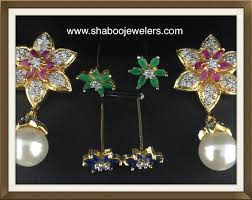 cz flower shaped with changeable stones with pearls indian kundan ic and gold jewelry in atlanta and