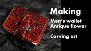 antique <b>flower men's</b> bifold wallet handmade leather <b>carving</b> ...