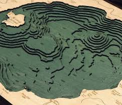 Wizard Lake Depth Chart Crater Lake Wood Carved Topographic Depth Chart Map