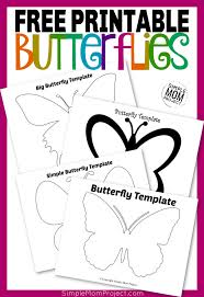 Simple butterfly coloring page from butterfly category. Free Printable Butterfly Templates Simple Mom Project