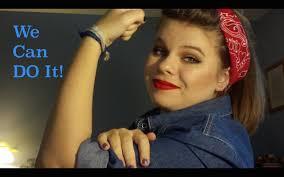 rosie the riveter inspired pin up hair makeup tutorial