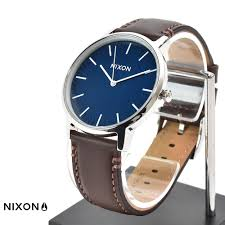 nixon nixon watch porter leather white navy x brown