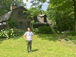 harry bliss a longtime ilrator and cartoonist stands outside his new hampshire home where